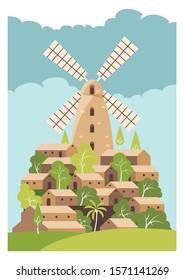 montefiore windmill israel vector illustration