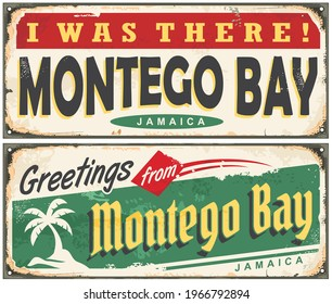 Montego Bay Jamaica retro tin signs collection. Caribbean islands travel destination vector illustration. Montego Bay vintage greeting card souvenirs.