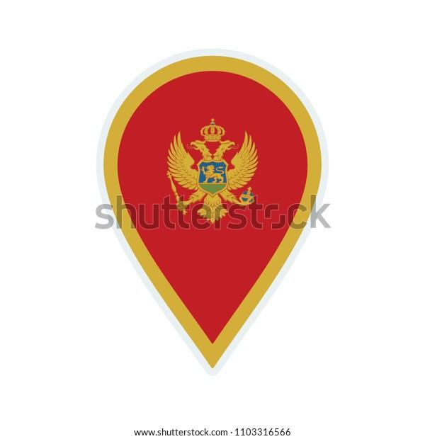 Montenegro flag icon. Travel icon. Travel destination of Montenegro. Montenegro badge. Flag badge.