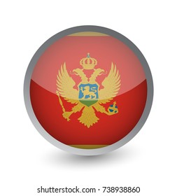 Montenegro Flag Round Glossy Icon. Vector illustration.