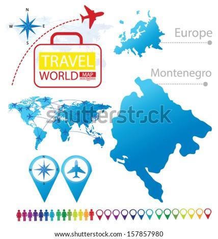 Montenegro On Europe Map.Montenegro Map Europe Modern Globe Travel Stock Vector Royalty Free