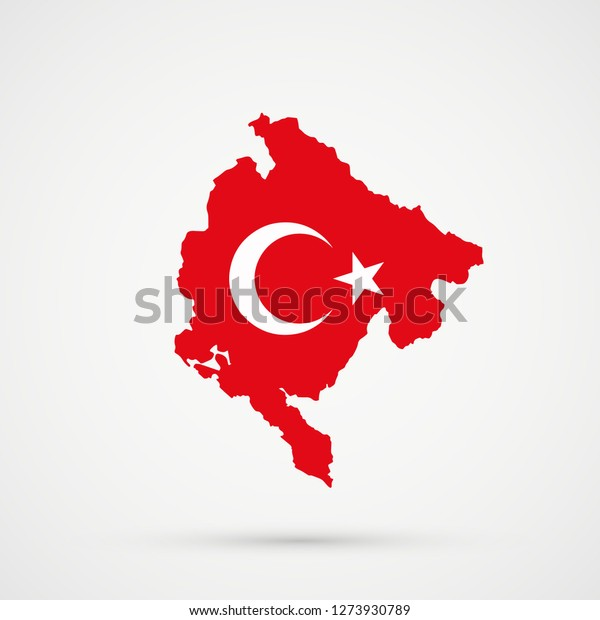 Montenegro map in Turkey flag colors, editable vector.