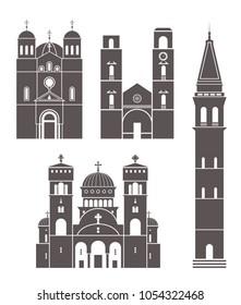 Montenegro set. Isolated Montenegro architecture on white background. EPS 10. Vector illustration