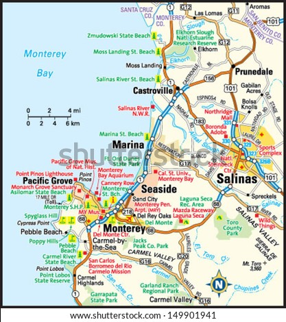 Monterey California Area Map Stock Vector Royalty Free 149901941