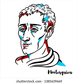 Montesquieu engraved vector portrait with ink contours. French judge, man of letters, and political philosopher.