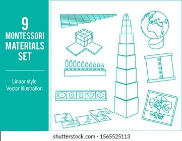 Montessori Materials set vector line design