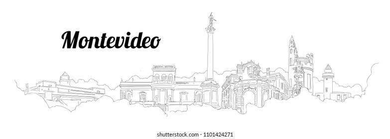Montevideo city vector panoramic hand drawing sketch illustration