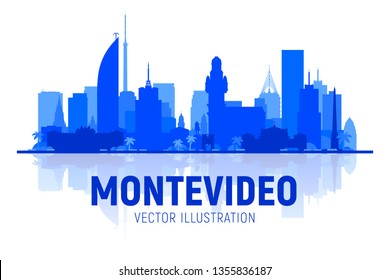 Montevideo Uruguay line skyline with panorama in white background. Vector Illustration. Business travel and tourism concept with modern buildings. Image for banner or web site.