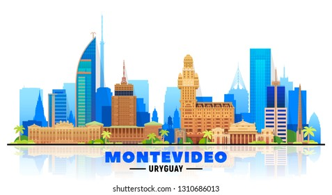 Montevideo Uruguay skyline with panorama in white background. Vector Illustration. Business travel and tourism concept with modern buildings. Image for banner or web site.