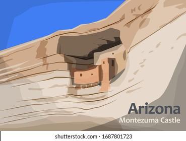 Montezuma Castle National Monument, located in Camp Verde, Arizona, United States, vector illustration