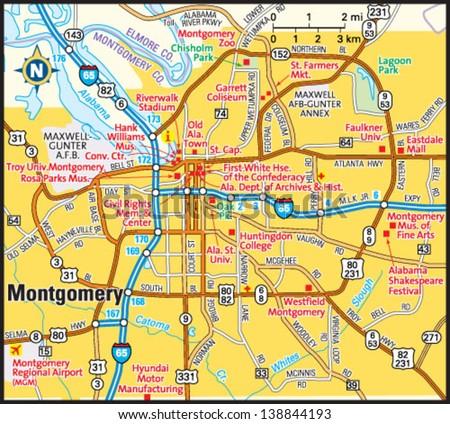 Montgomery Alabama Area Map Stock Vector (Royalty Free) 138844193 ...