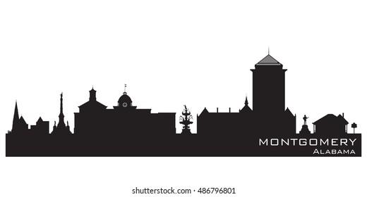 Montgomery Alabama skyline Detailed vector silhouette