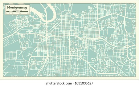 Montgomery Alabama USA City Map in Retro Style. Outline Map. Vector Illustration.