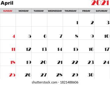 Month April 2021 Calendar Vector