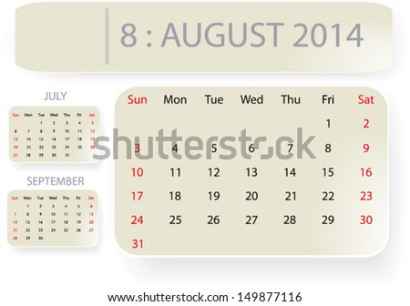 Month August 2014 Calendar Template Background Stock Vector Royalty