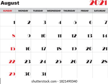 Month August 2021 Calendar Vector