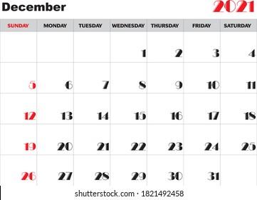 Month December 2021 Calendar Vector