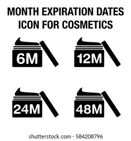 Month expiration dates icon for cosmetic or others.