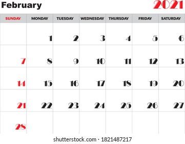 Month February 2021 Calendar Vector