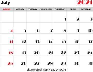 Month July 2021 Calendar Vector