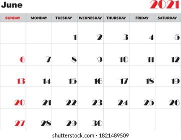 Month june 2021 Calendar Vector