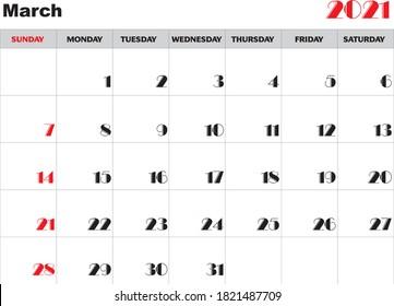 Month March 2021 Calendar Vector