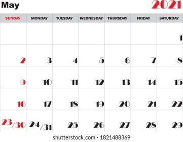 Month May 2021 Calendar Vector
