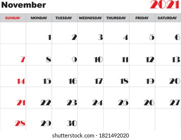 Month November 2021 Calendar Vector