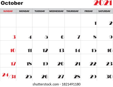 Month October 2021 Calendar Vector