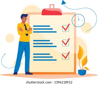 Month planning, to do list, time management. Man is standing near large to do list. Plan fulfilled, task completed. Flat concept vector illustration, isolated on white