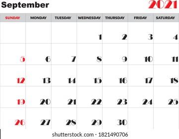 Month September 2021 Calendar Vector