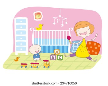 Monther and baby are playing in the babyroom.