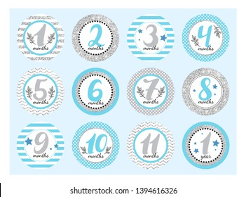 Monthly baby stickers for newborn boys.  Month by month growth stickers for clothing with silver sparkles. Set for a photo shoot or a baby shower party.