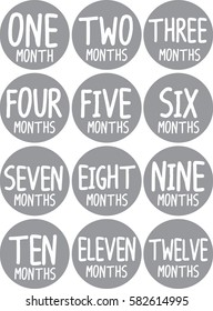 Monthly baby stickers set grey color one year vector circle shape