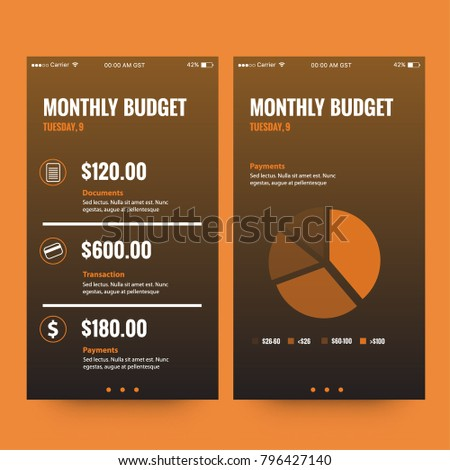 Monthly Budget App Ui Ux Screens Stock Vector Royalty Free