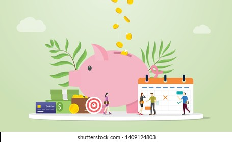 monthly budget planning concept with saving piggy icon and calendar with team people and modern flat style - vector
