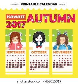 Monthly Pinup Calendar 2017 Year Kawaii Stock Vector Royalty Free