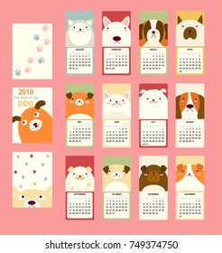 Monthly calendar 2018 with cute dog - bull terrier, husky, St. Bernard dog, jack russell terrier, basset-hound Set of vector vertical editable template. Symbol of the year in the Chinese calendar EPS8