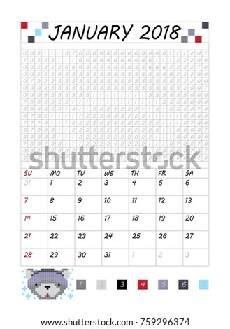 Monthly Calendar 2018 Cute Dogs January Stock Vector Royalty Free