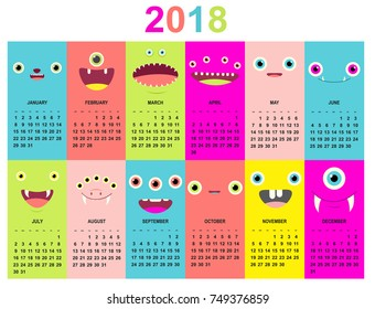 Monthly calendar 2018 with cute monsters faces of green, blue, yellow, pink, lilac and red colors. Set of vector vertical editable templates. EPS8