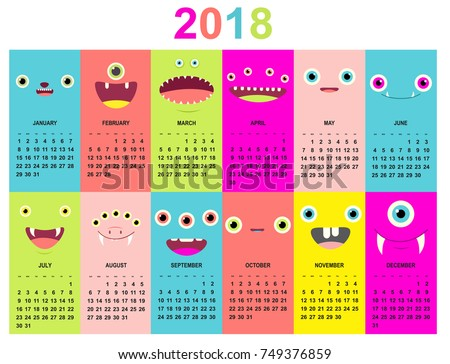 Monthly Calendar 2018 Cute Monsters Faces Stock Vektorgrafik