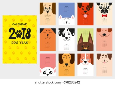 Monthly calendar 2018 with funny dogs, puppies