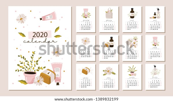 monthly calendar 2020 cute printable creative stock vector