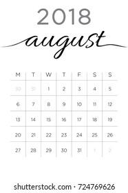 August Calendar Images, Stock Photos & Vectors | Shutterstock