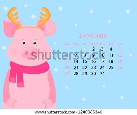 Free Cute January 2019 Calendar Sunday To Saturday Monthly Calendar January 2019 Sunday Saturday Stock Vector