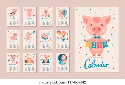 Monthly Calendar. Pig is a symbol of the Chinese 2019 New Year. Cute cartoon piggy in different situations. Week starts on monday. Vector illustration