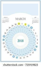 monthly calendar planner for 2018 march highlighted saturday and sunday full moon utc
