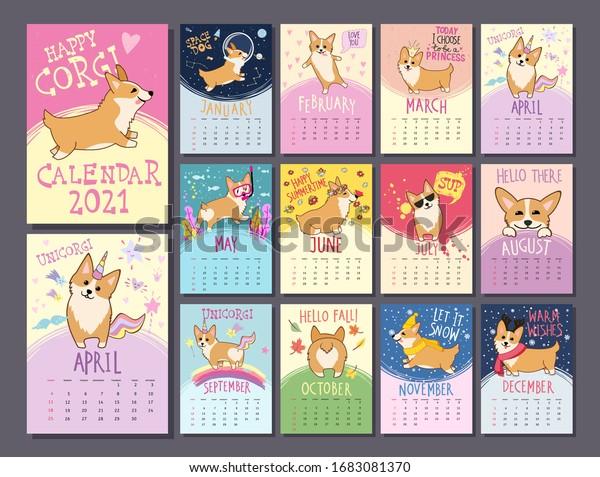 Monthly Calendar Template 2021 Cute Welsh Stock Vector (Royalty