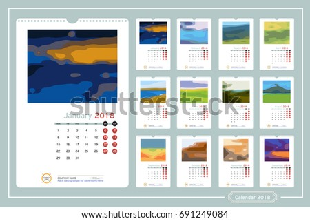 Monthly Calendar Year 2018 Vector Design Stock Vektorgrafik