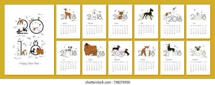 Monthly creative calendar 2018 with dog breeds. Concept, vector vertical editable template. Symbol of the year in the Chinese calendar. Minimalism. Isolated. Memphis. A4. Vector illustration.